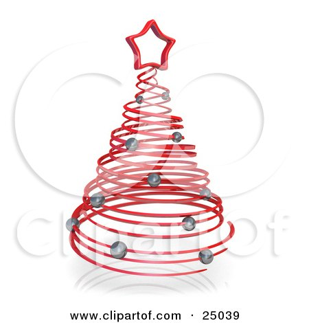 Clipart Illustration of a Red Spiraling Christmas Tree Adorned With Silver Ornaments And Topped With A Star by 3poD