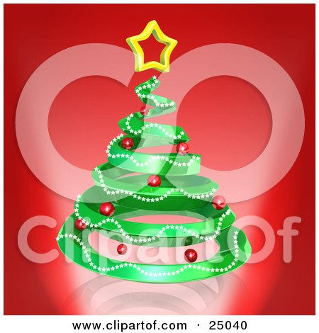 Clipart Illustration of a Green Spiraling Christmas Tree Decorated With Garland And Red Ornaments And Topped With A Star, Over Red by 3poD