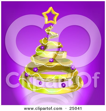 Clipart Illustration of a Golden Spiraling Christmas Tree Decorated With Garland And Purple Ornaments And Topped With A Star, Over Purple by 3poD