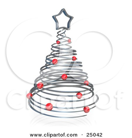 Clipart Illustration of a Silver Spiraling Christmas Tree Adorned With Red Ornaments And Topped With A Chrome Star by 3poD