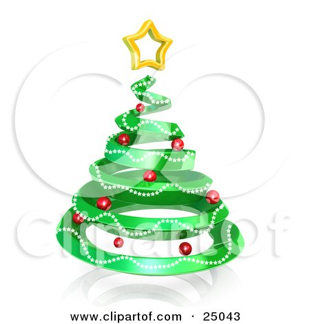 Clipart Illustration of a Green Spiral Christmas Tree Decorated With Garland And Red Ornaments And Topped With A Star, Over White by 3poD