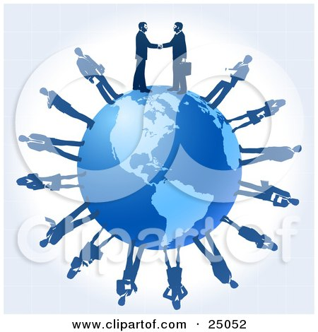 Clipart Illustration of Two Professional Businessmen Shaking Hands On Top Of A Blue Globe, Other Business People Circling The Planet by Tonis Pan