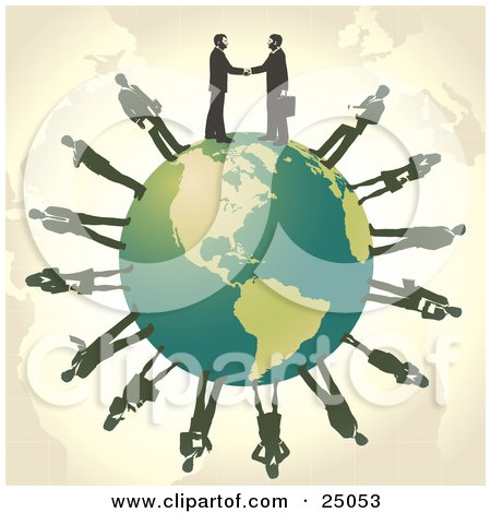 Clipart Illustration of Two Professional Businessmen Shaking Hands On Top Of A Green Globe, Other Business People Circling The Planet by Tonis Pan