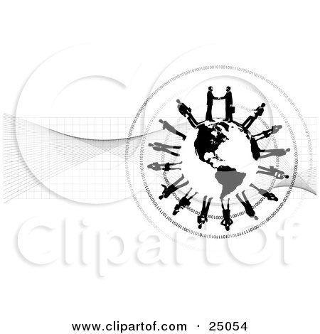 Clipart Illustration of Two Professional Businessmen Shaking Hands On Top Of A Black And White Globe, Other Business People Circling The Planet Over A Grid And Binary Background by Tonis Pan