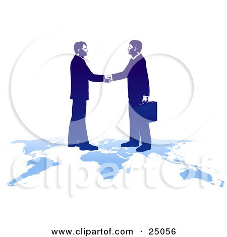 Clipart Illustration of Two Professional Businessmen Shaking Hands And Standing On Top Of A Blue Map by Tonis Pan