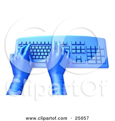 Clipart Illustration of Blue Grid Virtual Hands Typing On A Blue Desktop Computer Keyboard, Over A White Background by Tonis Pan