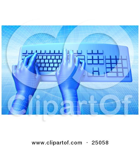 Clipart Illustration of Blue Virtual Grid Hands Typing On A Blue Computer Keyboard, Over A Background With A Grid And Wave Pattern by Tonis Pan