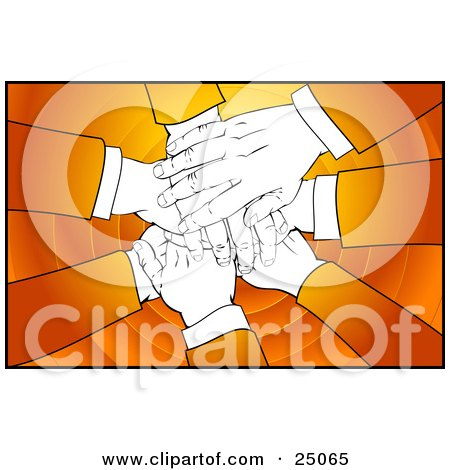 Clipart Illustration of Business People With Orange Sleeves, Stacking Their Hand In A Pile Over A Circle Background by Tonis Pan