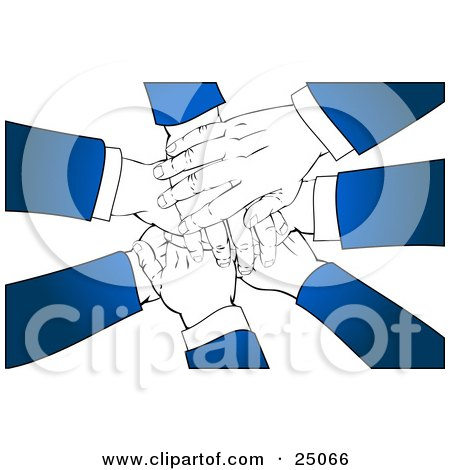 Clipart Illustration of a Team Of Business Partners With Blue Sleeves, Stacking Their Hands In A Pile, Over A White Background by Tonis Pan
