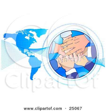 Clipart Illustration of a Teamwork Pile Of Hands Stacked In A Circle Surrounded By Binary Coding, With Waves Over A Blue Map by Tonis Pan