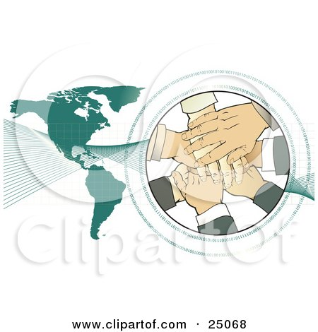 Clipart Illustration of a Teamwork Pile Of Hands Stacked In A Circle Surrounded By Binary Coding, With Waves Over A Green Map by Tonis Pan