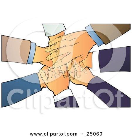 Clipart Illustration of a Teamwork Pile of Hands Stacked Over a White Background by Tonis Pan