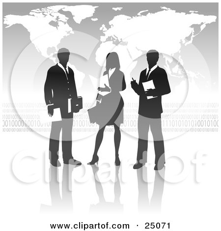 Clipart Illustration of a Businesswoman Standing Between Two Men, Discussing A Business Project In Front Of A Gray Background With A Map And Binary Coding by Tonis Pan