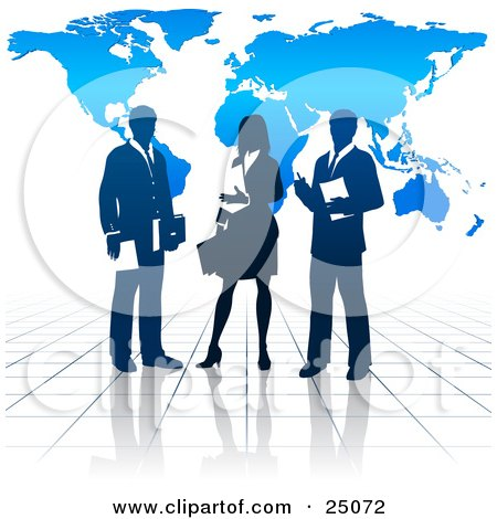 Clipart Illustration of a Business Woman And Two Men On A Reflective Tile Floor, Discussing A Business Project In Front Of A Blue Background With A Map by Tonis Pan