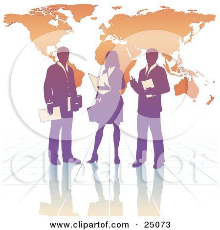 Clipart Illustration of a Purple Business Woman And Two Men On A Reflective Tile Floor, Discussing A Business Project In Front Of An Orange Background With A Map by Tonis Pan
