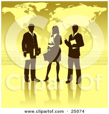 Clipart Illustration of a Businesswoman Standing Between Two Men, Discussing A Business Project In Front Of A Yellow Background With A Map And Binary Coding by Tonis Pan