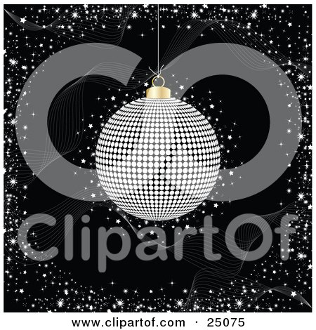 Clipart Illustration of a Silver Disco Ball Spinning Over A Black Background With Waves And Confetti by elaineitalia