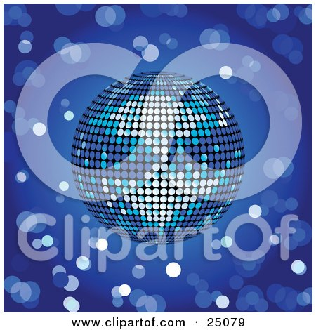 Clipart Illustration of a Shiny Blue Disco Ball Spinning Over A Blurred Blue Background With Circles by elaineitalia