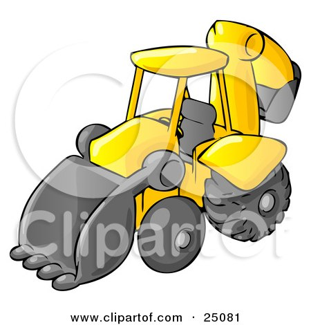 Clipart Illustration of a Yellow Backhoe Heavy Machine Used For Construction by Leo Blanchette