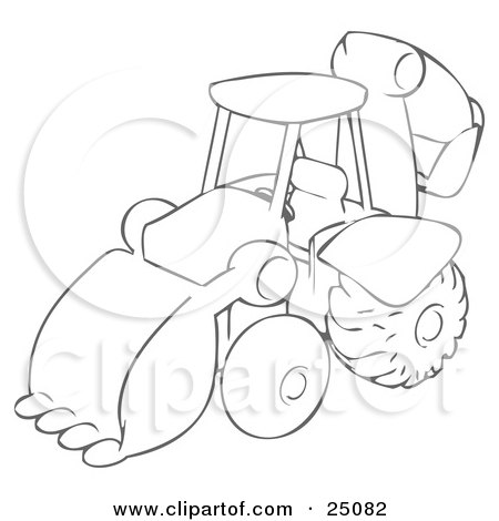Drawing Of A Backhoe Construction Machine Used For Construction Posters, Art Prints