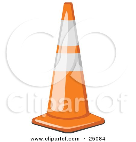 Clipart Illustration of a Shiny Orange Traffic Cone With White Bands, Resting On A Road In A Construction Zone by Leo Blanchette