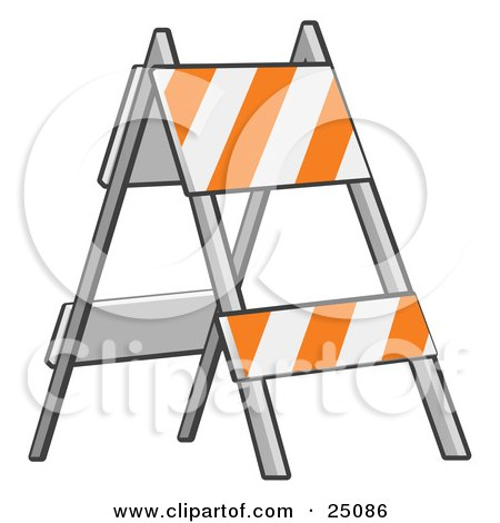 Clipart Illustration of a White And Orange Striped Type II Barricade Sign Standing In A Road Construction Area by Leo Blanchette
