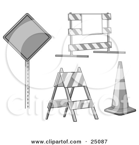 Clipart Illustration of a Collection Of Signs, Traffic Blocks And Traffic Cones In Gray Tones by Leo Blanchette