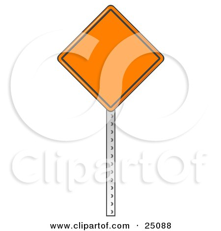 Clipart Illustration of a Blank Orange Traffic Sign On A Post At A Construction Site by Leo Blanchette