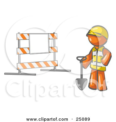 Clipart Illustration of an Orange Man Construction Worker In A Yellow Vest And Hardhat, Holding A Shovel And Standing By A Road Block Sign by Leo Blanchette