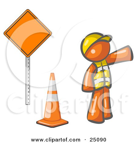 Clipart Illustration of an Orange Man Construction Worker Wearing A Vest And Hardhat, Pointing While Standing By A Cone And Sign At A Road Work Site by Leo Blanchette