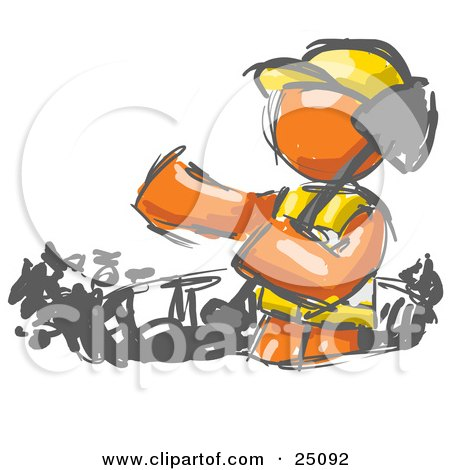 Clipart Illustration of a Painted Orange Man Construction Worker In A Vest And Hard Hat, Digging With A Shovel While Doing Road Work by Leo Blanchette