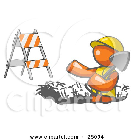 Clipart Illustration of a Working Orange Man Wearing A Vest And Hardhat Standing In A Hole While Digging With A Shovel In A Construction Zone by Leo Blanchette