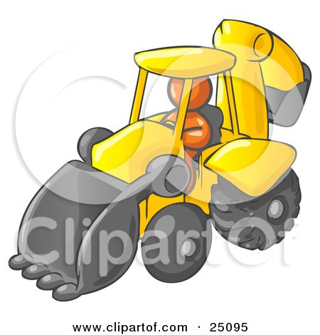 Orange Man Operating A Yellow Backhoe Machine At A Construction Site Posters, Art Prints
