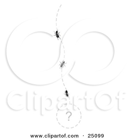 Clipart Illustration of Worker Ants In A Line, Following A Path To An Unknown Treasure, Marked With A Questionmark by Leo Blanchette