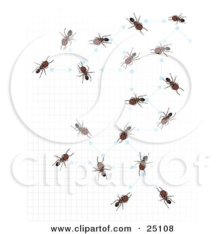 Clipart Illustration of Worker Ants Over A Gid, Networking With Arrows And Dots by Leo Blanchette