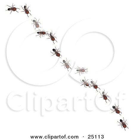 Clipart Illustration of Worker Ants In A Single File Line, Following The Leader Diagonally Across A Surface by Leo Blanchette