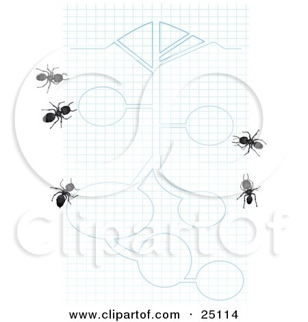 Clipart Illustration of Worker Ants On Blue And White Graph Paper With Blueprint Drawings by Leo Blanchette
