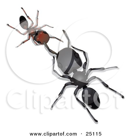 Clipart Illustration of a Large Black Worker Ant Facing And Conversing With A Little Brown Ant by Leo Blanchette