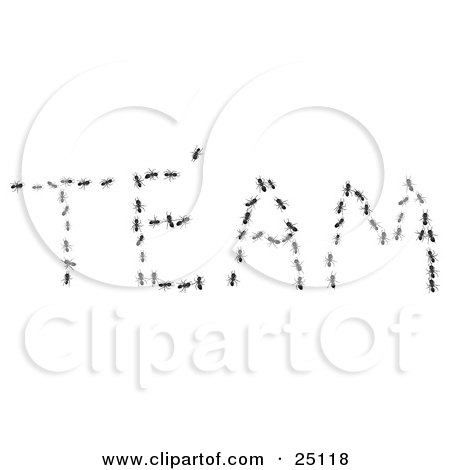 Clipart Illustration of a Group Of Worker Ants Coming Together And Forming The Word TEAM by Leo Blanchette