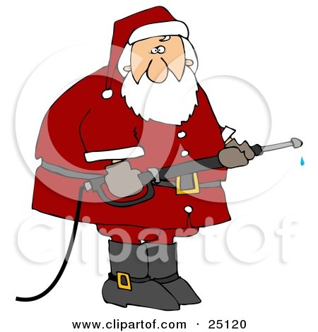 Clipart Illustration of Santa In His Red Suit, Operating A Power Washer Nozzle by djart