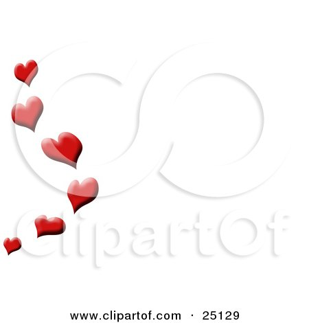 Red Love Hearts Floating Up Along The Edge Of A White Background Posters, Art Prints