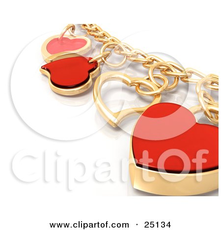 Clipart Illustration of a Gold Charm Bracelet With Red And Golden Heart Charms, Over White by KJ Pargeter