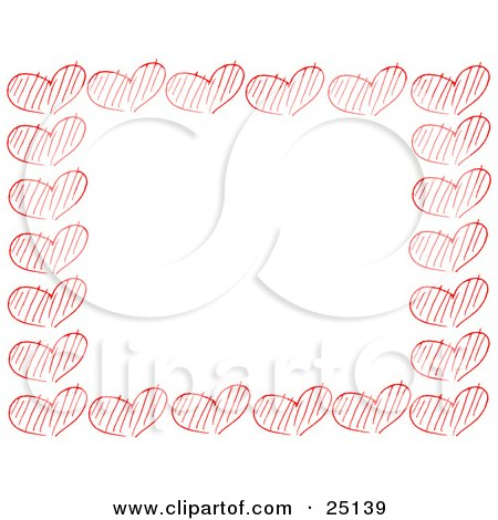 Border Of Sketched Red Hearts Over White Posters, Art Prints