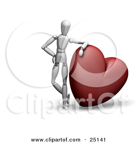 Clipart Illustration of a White Figure Character Resting His Arm On Top Of A Big Red Heart by KJ Pargeter