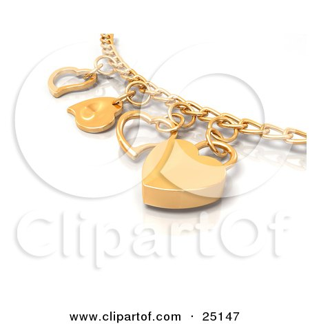 Clipart Illustration of a Golden Charm Bracelet With Heart Charms, Over White by KJ Pargeter