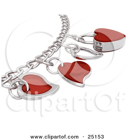 Clipart Illustration of a Silver Or White Gold Charm Bracelet With Chrome And Red Heart Charms by KJ Pargeter
