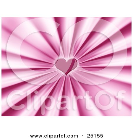 pink love heart background.  of a pretty pink love heart in the center of a bursting background.