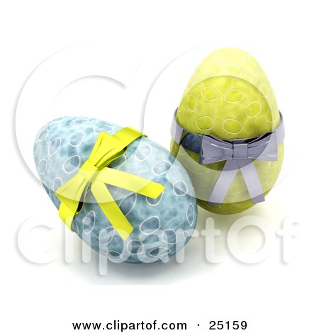Clipart Illustration of Two Decorated Blue And Yellow Easter Eggs With Yellow And Silver Bows by KJ Pargeter