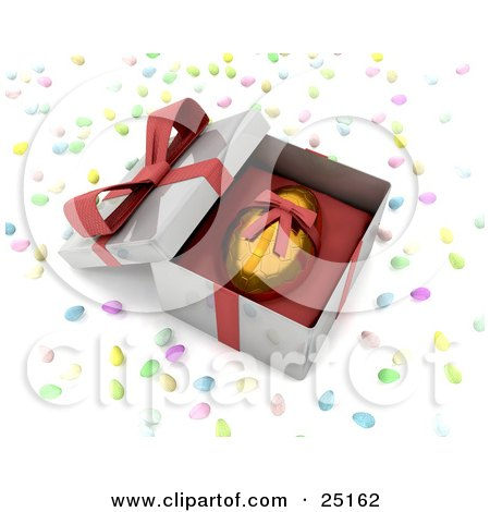 Clipart Illustration of a Gold Easter Egg With A Honeycomb Pattern And A Red Ribbon Around It, Resting In An Open Gift Box, Surrounded By Candy by KJ Pargeter