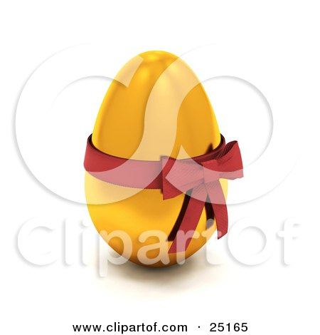 Clipart Illustration of a Gold Easter Egg With A Red Bow And Ribbon Around It by KJ Pargeter